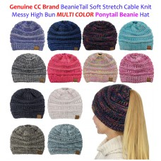 NEW CC BeanieTail MULTI COLOR Stretch Knit Messy High Bun Ponytail Beanie    eb-75421087