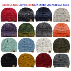 NEW Genuine CC Beanie Colorful Confetti Soft Stretch Cable Knit Slouch Beanie  eb-53545356