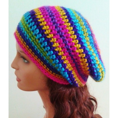 NEW 's Handmade  Slouchy Hat  Bright multicolor  beanie  tam  eb-78136202