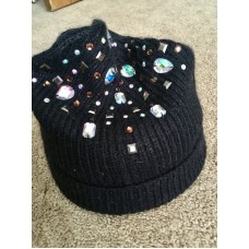 NWT Black Beanie with Crystals  Wear 2 Ways  SUPER cute  Retails for $28  eb-30188676