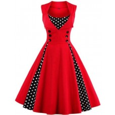 Elegant Red Summer Polka Dot Classic Kentucky Derby Dress  eb-32101346