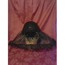 Fabulous Kentucky Derby EASTER Sunday Dress Hat BLACK GOLD Sequin Dot Tulle Lace  eb-67089756