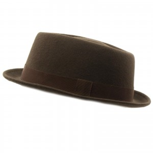 Winter 100% Wool Boater Porkpie Derby Ribbon Band Fedora Hat Brown S/M 56cm 741459480288 eb-81552661
