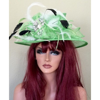 Kentucky Derby Wedding SheerChurch Dress Hat Green White Black  Tea   eb-18214506