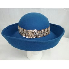 Ladies 100% Wool Fashion Vintage Style Bowler Derby Hat W/ Gold Braid Mujers  eb-20817739