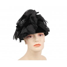 Mujer's Church Hat  Wool Hat  Black  59  eb-12166536