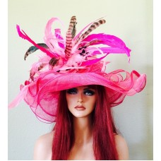 Pink Wide Brim Kentucky Derby Hat Wedding Races  Sinamay Sheer  eb-25791524