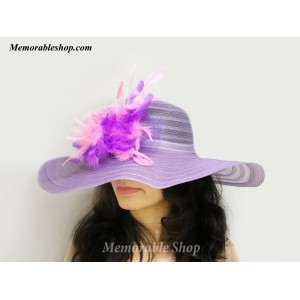 Purple Pink Feather Kentucky Derby Hat Cocktail Wide Brim Derby Hat Woman Hat  eb-51262870