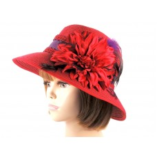 Red Church Derby Dress Paper Straw Hat Brocade Trim Feathers Society Ladies  eb-52477096