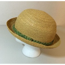 Vintage Straw Hat Italy Genuine Raffia 7 1/4 Green Band Derby  eb-68801584