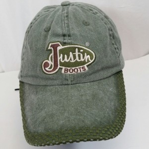Justin Boots Ball Cap Hat Distressed Green Adjustable Strap Checkerboard Stitchi  eb-79457585