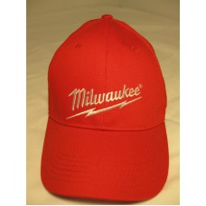 MILWAUKEE BRAND EMBROIDERED STRETCH FIT RED BASEBALL STYLE CAP  eb-34924392