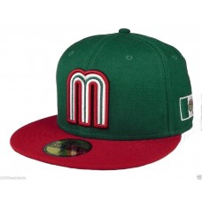 New Era 59Fifty Cap Mexico World Baseball Classic Hombres Mujers Green Red 5950 Hat  eb-85998295
