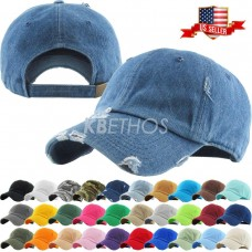 Solid Distressed Vintage Cotton Polo Style Baseball Ball Cap Hat 100% Cotton NEW  eb-90681316