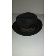 VINTAGE MALLORY BY STETSON BROWN WOOL FEDORA HAT & FEATHER. SIZE 6 34 R.  eb-73256378