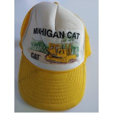 Vintage Michigan Caterpillar CAT Yellow Snapback Hat Cap 80s USA  eb-76749129