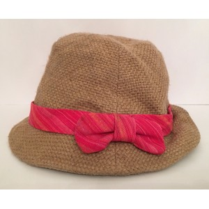 Anthropologie Grace Hats Tan Linen Woven Meso Fedora Red Pink Striped Bow Band   eb-81679642