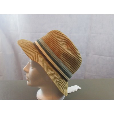 August Hats Stripe Band Fedora Hat  Natural  One Size 766288986299 eb-21045159