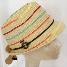 Hat Fedora Mujers One Size Beige Natural Rainbow Striped Straw Roped Band   eb-69781555
