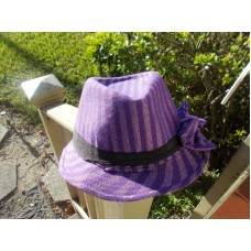 Mujer's Purple silver black band Fedora/Trilby Striped Hat with  side Bow   eb-56589688