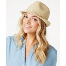 NWT Nine West Hat Fedora Beige Packable Sand Heather Bead Band MSRP $32 887661220530 eb-39196701