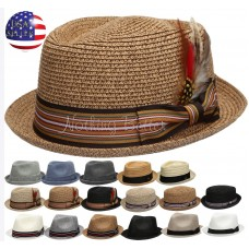 Summer Mujer Hombre Straw Pork Pie Fedora with Stripe Or Solid Band Feather Hat   eb-35149738