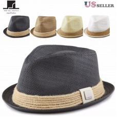THE HAT DEPOT Mujers Short Brim Sun Straw Fedora Hat with Raffia Band  eb-44904651