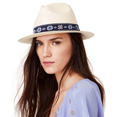 Tory Burch Ribbon Trim Fedora Woven Straw Hat Natural NEW Retail $125.00  eb-71215930