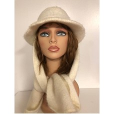 Vintage ARIS Winter Acrylic Knit Mujer's Hat Ivory USA Has attached scarf 649144  eb-58922298