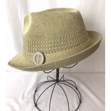 Vtg Mujers Fedora Hat Trilby Woven Fabric Summer Crushable Packable Tan Small Md  eb-98682012