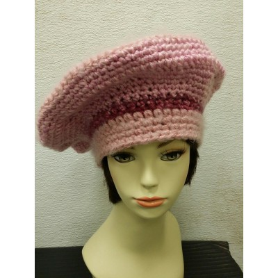 BIG PINK ON PINK HAND CROCHETED KNIT BERET TAM CLOCHE BEANIE RASTA CAP HAT SNOOD  eb-13553115