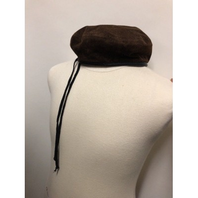 Eric Javits Suede Beret Water Repellent Hat Brown Leather Adjustable  eb-47711585