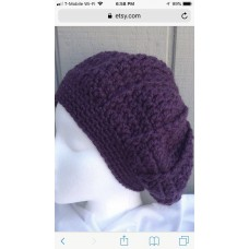 Hand made Wool blend Puple beret Chunky knit Hat  eb-63667189