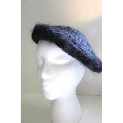 Handmade NEW Black Beret Wool Mohair Hat Crochet Mod Goth Bohemian Unique Cap  eb-96888619