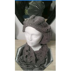 Handmade crochet beret beanie and matching cowl charcoal gray. US SELLER  eb-56599991