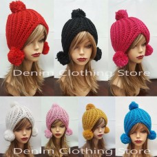Mujer Winter Beret Warm Baggy Beanie Knit Crochet Hat W/Puff Ball Slouch Ski Cap  eb-67063631