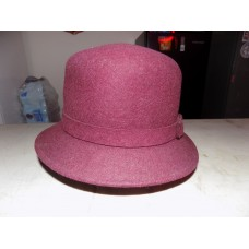 BETMAR NEW YORK 100% WOOL BURGUNDY MAROON CLOCHE BUCKET HAT ONE SIZE  eb-75957223