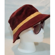 Coach Mujers Burgundy Suede Leather  Bucket Crusher Hat Discontinued. SZ S / P  eb-20811771