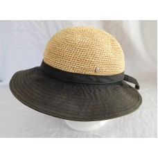 Helen Kaminski 100% Raffia Crown 100% Cotton Brim Sun Beach Bucket Hat One Size  eb-58319165