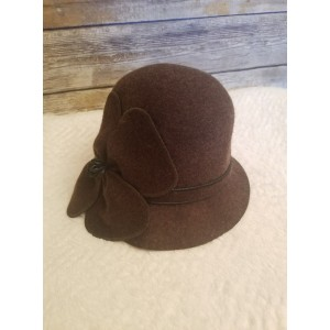 Jeanne Simmons 100% Wool Brown Bucket Cloche Hat Flower Detail One Size  NEW 840626074487 eb-50474971