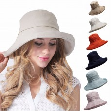 Mujer's AntiUV Fashion Wide Brim Summer Beach Cotton Sun Bucket Hat T204  eb-79156559
