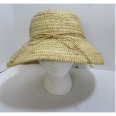 Sewn Braid Straw Bucket Sun Hat Mujer's With Straw Bow Beach Cruise Poolside NEW  eb-65824749