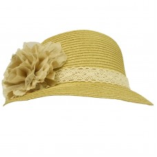 UPF 50+ Ladies Summer 2 Flowers Lace Cloche Bell Bucket Sun Hat Cap 57cm Natural  eb-26254141