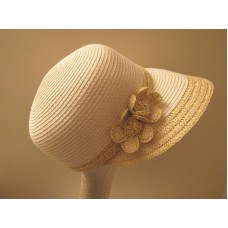 August Hat Straw Framer White Tan Trim  eb-82398973