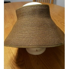 BROWN ROLL UP PAPER STRAW SUN VISOR BEACH  OUTDOORS PROTECTION VELCRO  BOW  ADJ.  eb-00745193