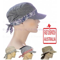 Girl Ladies Woman Full Cotton Chemo Visor Wrap Soft Lining  Hat Army Cap S SMALL  eb-33759719
