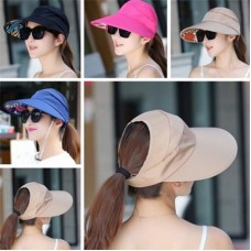 Mujer UV Protect Foldable Large Brim Visor Cap Beach Sun Hat Outdoor Multicolor  eb-47367395