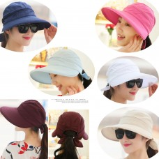 Mujer's UV Protect Foldable Large Brim Visor Cap Beach Sun Hat Outdoor Windcap   eb-64249424