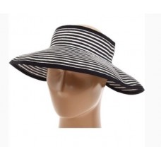 New/San Diego Hat Company Mujer's Raffia Roll Up Visor~Ultra braid~Black/White  eb-72678959