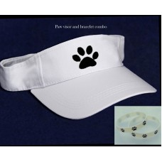Paw Print Visor Cap & Bracelet White Cotton Hat Embroidered Dog Cat Sport Golf  eb-87776470